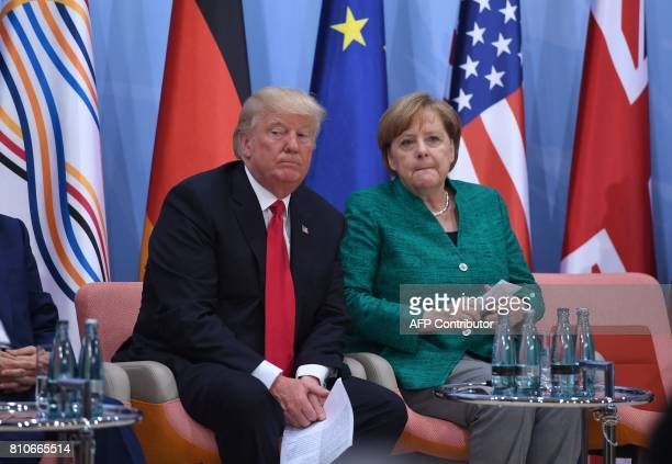 US President Donald Trump and German Chancellor Angela Merkel attend the panel discussion 'Launch Event Women's Entrepreneur Finance Initiative' on...