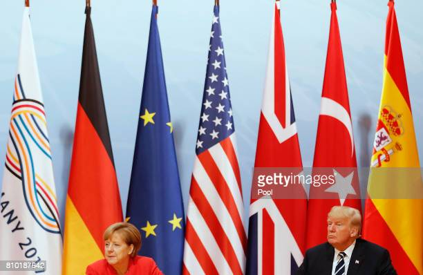 President Donald Trump and German Chancellor Angela Merkel during the G20 leaders retreat as part of the G20 summit on July 7 2017 in Hamburg Germany...