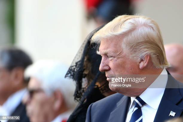 President Donald Trump and his wife First Lady Melania Trump arrive at the Apostolic Palace for an audience with Pope Francis on May 24 2017 in...