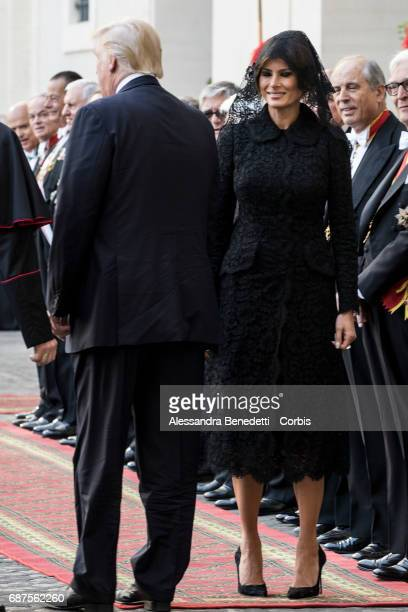 President Donald Trump and his wife First Lady Melania Trump arrive to meet Pope Francis on May 24 2017 in Vatican City Vatican