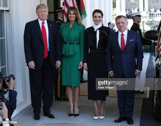 S President Donald Trump and his wife first lady Melania Trump welcomes King Abdullah II of Jordan and his wife Queen Rania of Jordan at the West...