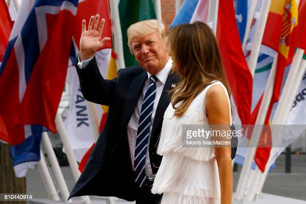 President Donald Trump and his wife Melania Trump arrive to attend a concert at the Elbphilharmonie philharmonic concert hall on the first day of the...