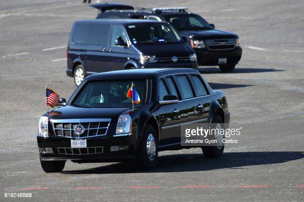President Donald Trump and his wife Melania Trump arrived place of Concorde for the traditional Bastille day military parade on the ChampsElysees on...