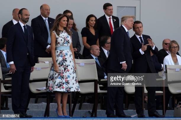 President Donald Trump and his wife Melania Trump French President Emmanuel Macron and prime minister French Prime Minister Edouard Philippe during...