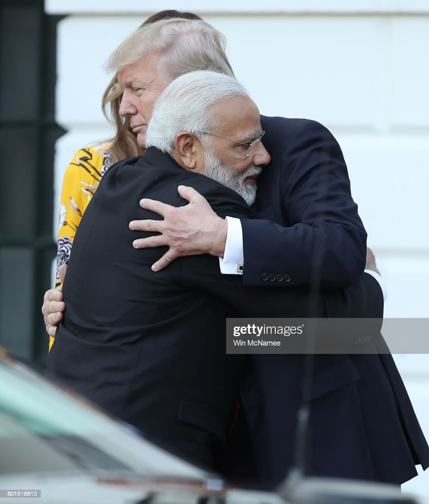 U.S. President Donald Trump and Indian Prime Minister Narendra Modi embrace as Modi departs the White House June 26, 2017 in Washington, DC. Trump and Modi had a series of meetings throughout the day to discuss a range of bilateral issues.