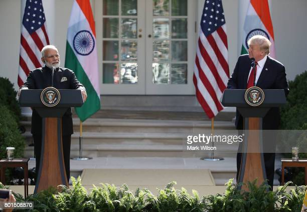 S President Donald Trump and Indian Prime Minister Narendra Modi deliver joint statements in the Rose Garden of the White House June 26 2017 in...