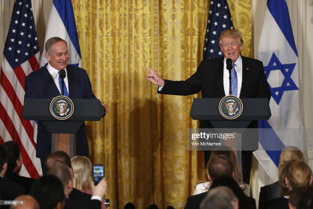 U.S. President Donald Trump (R) and Israel Prime Minister Benjamin Netanyahu (L) participate in a joint news conference at the East Room of the White House February 15, 2017 in Washington, DC. President Trump hosted Prime Minister Netanyahu for talks for the first time since Trump took office on January 20.