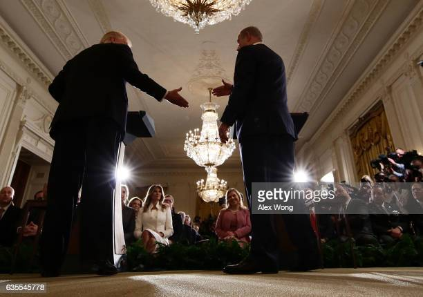 S President Donald Trump and Israel Prime Minister Benjamin Netanyahu shake hands as US first lady Melania Trump and Netanyahu's wife Sara look on...