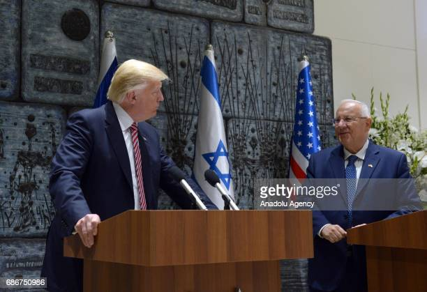 US President Donald Trump and Israeli President Reuven Rivlin hold a joint press conference after their meeting in Jerusalem on May 22 2017