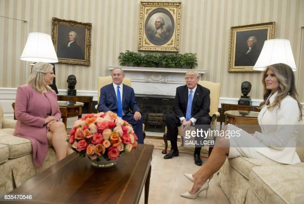 US President Donald Trump and Israeli Prime Minister Benjamin Netanyahu along with their wives First Lady Melania Trump and Sara Netanyahu hold a...