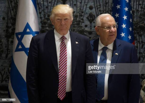 US President Donald Trump and Israel's President Reuven Rivlin stands during a visit to the President's House on May 22 2017 in Jerusalem Israel...
