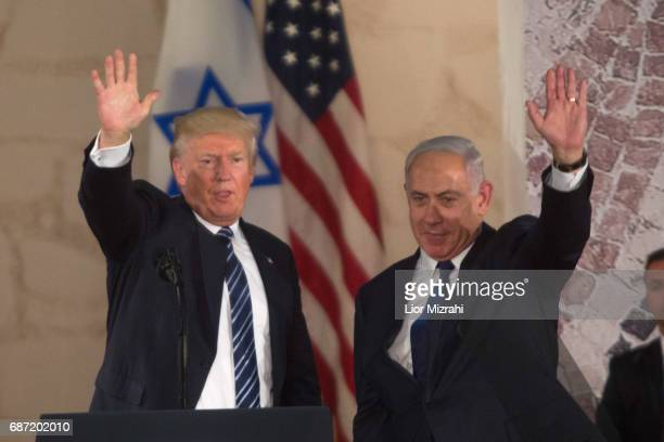 US President Donald Trump and Israel's Prime Minister Benjamin Netanyahu wave after delivering a speech during a visit to the Israel Museum on May 23...