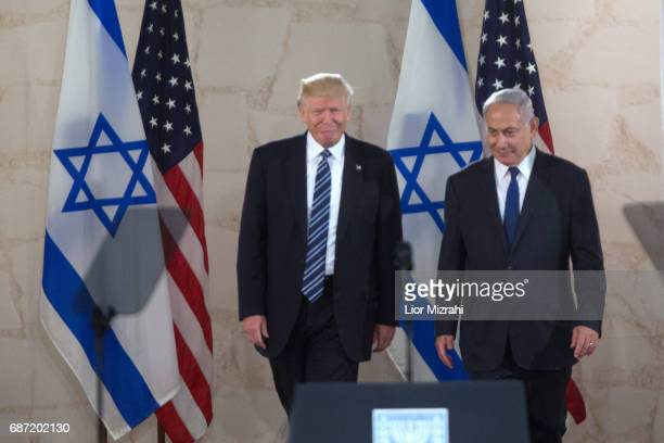 US President Donald Trump and Israel's Prime Minister Benjamin Netanyahu arive to delivering a speech during a visit to the Israel Museum on May 23...