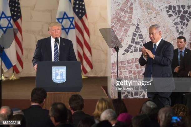 US President Donald Trump and Israel's Prime Minister Benjamin Netanyahu delivering a speech during a visit to the Israel Museum on May 23 2017 in...