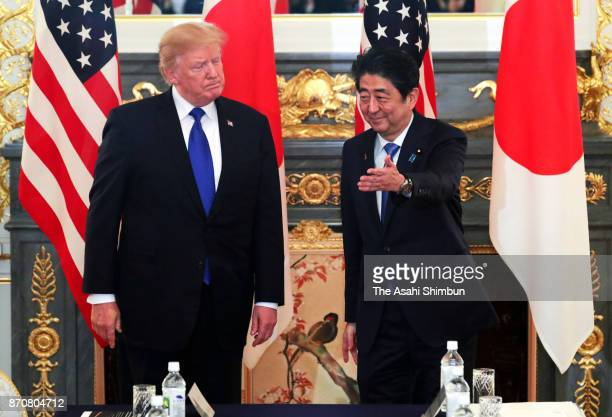 US President Donald Trump and Japanese Prime Minister Shinzo Abe hold talks at the Akasaka State Guest House on November 6 2017 in Tokyo Japan Trump...