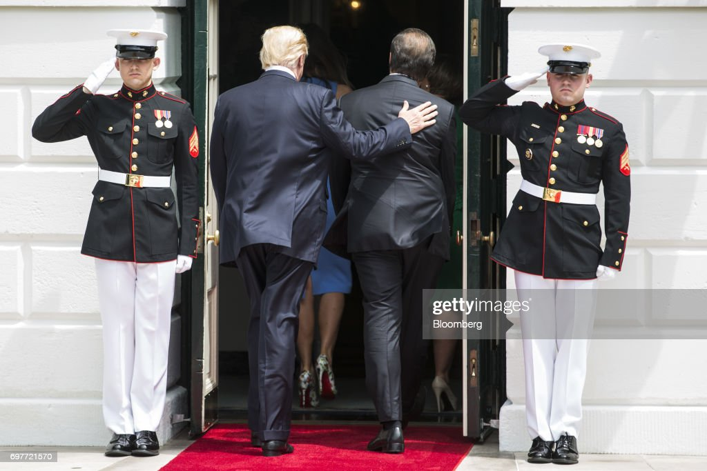 U.S. President Donald Trump and Juan Carlos Varela, Panama's president, walk into the White House in Washington, D.C., U.S., on Monday, June 19, 2017. The U.S. is Panama's number one source of imports, accounting for 17 percent or $4.68 billion of the country's total imports, according to Massachusetts Institute of Technology's Observatory of Economic Complexity. Photographer: Zach Gibson/Bloomberg via Getty Images