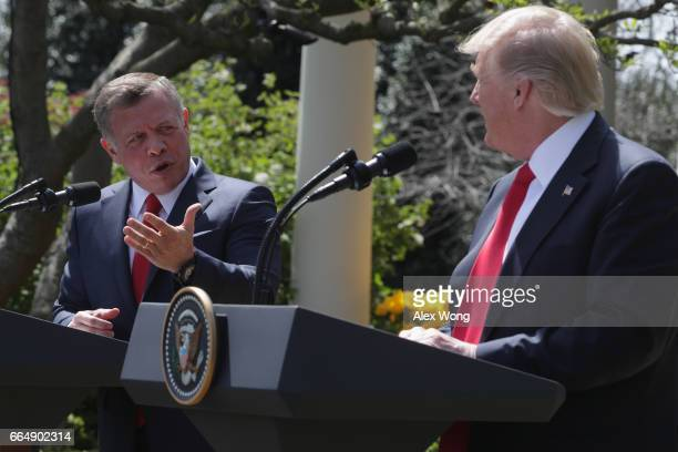 S President Donald Trump and King Abdullah II of Jordan participate in a joint news conference at the Rose Garden of the White House April 5 2017 in...