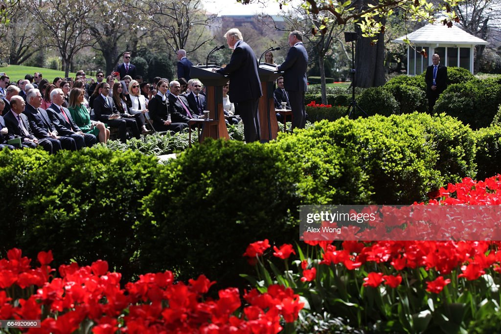 U.S. President Donald Trump (L) and King Abdullah II (R) of Jordan participate in a joint news conference at the Rose Garden of the White House April 5, 2017 in Washington, DC. President Trump held talks on Middle East peace process and other bilateral issues with King Abdullah II.
