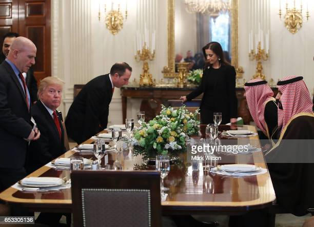 S President Donald Trump and Mohammed bin Salman Deputy Crown Prince and Minister of Defense of the Kingdom of Saudi Arabia prepare to have lunch in...