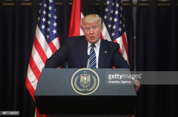 President Donald Trump and Palestinian president Mahmoud Abbas hold a joint press conference following their meeting on May 23 2017 in Bethlehem West...