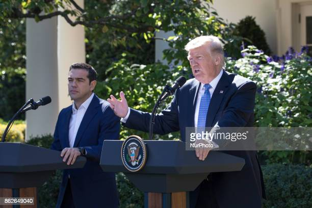 US President Donald Trump and Prime Minister Alexis Tsipras of Greece held a joint press conference in the Rose Garden of the White House on Tuesday...
