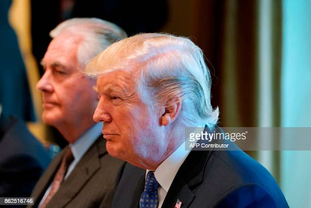 US President Donald Trump and Secretary of State Rex Tillerson take part in a working lunch with Greece's Prime Minister in the Cabinet Room of the...