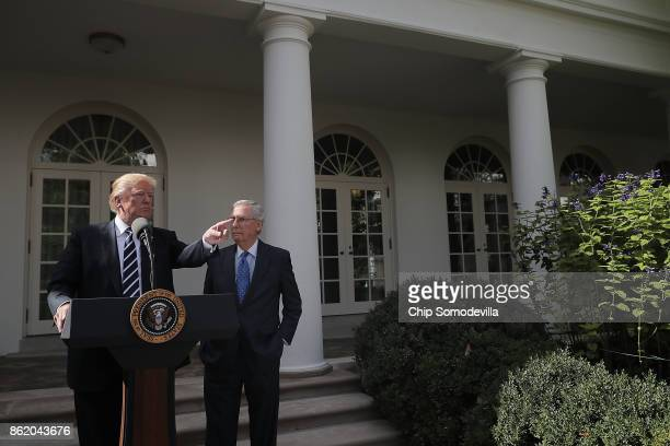 S President Donald Trump and Senate Majority Leader Mitch McConnell talk to reporters in the Rose Garden following a lunch meeting at the White House...