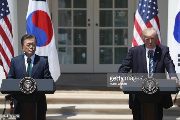 S President Donald Trump and South Korean President Moon Jaein deliver joint statements in the Rose Garden of the White House on June 30 2017 in...