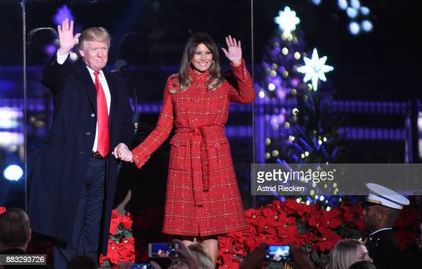 President Donald Trump and the first lady Melania Trump attend the 95th annual National Christmas Tree Lighting held by the National Park Service at...