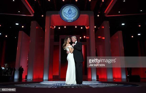 President Donald Trump and the first lady Melania Trump dance at the Liberty Ball at the Washington DC Convention Center following Donald Trump's...
