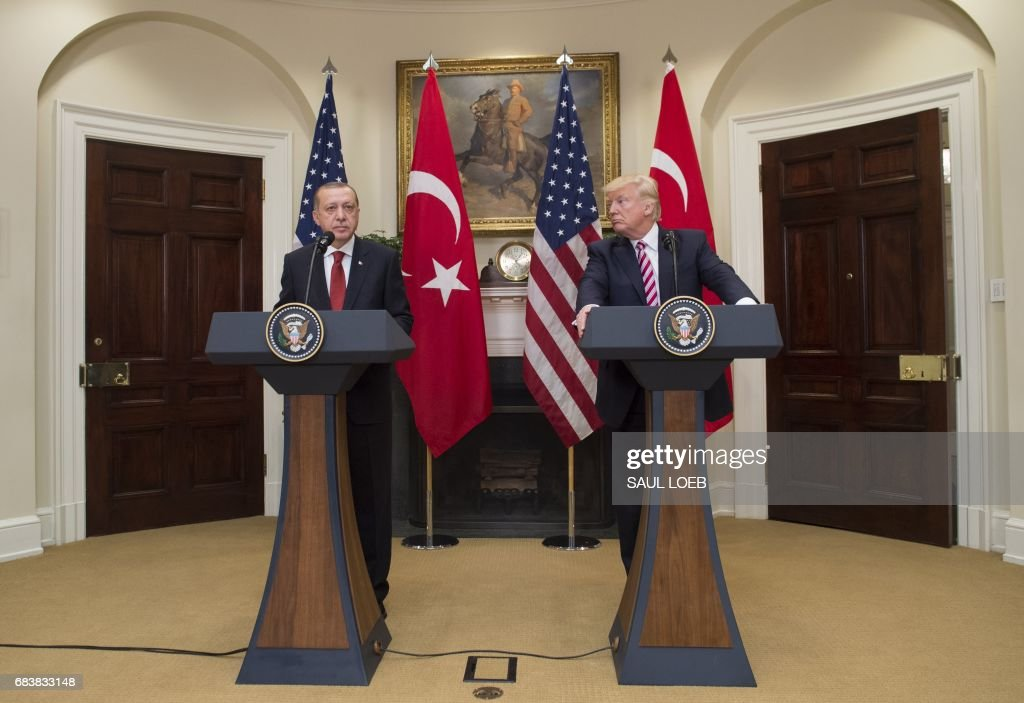 US President Donald Trump and Turkish President Recep Tayyip Erdogan speak to the press in the Roosevelt Room of the White House in Washington, DC, May 16, 2017. /