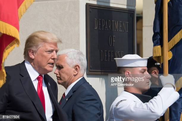 US President Donald Trump and Vice President Mike Pence arrive for meetings at the Pentagon in Washington DC on July 20 2017 / AFP PHOTO / JIM WATSON