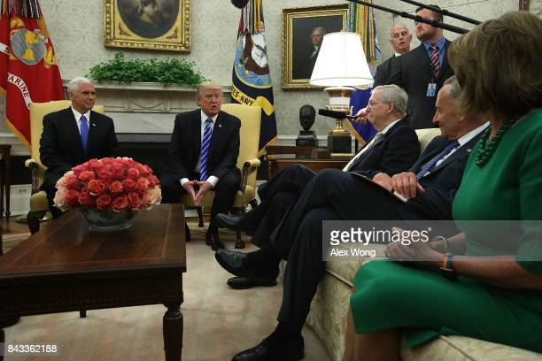 S President Donald Trump and Vice President Mike Pence meet with Senate Majority Leader Sen Mitch McConnell Senate Minority Leader Sen Chuck Schumer...