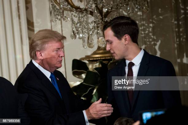 US President Donald Trump and White House Senior Advisor to the President Jared Kushner attend a Hanukkah Reception in the East Room of the White...
