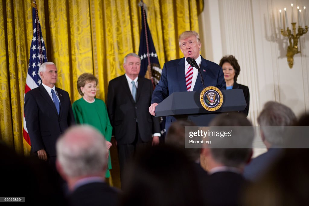 U.S. President Donald Trump announces the Air Traffic Control Reform Initiative during a press conference in the East Room of the White House in Washington, D.C., U.S., on Monday, June 5, 2017. Trumpon Monday unveiled his proposal to hand over control of the U.S. air-traffic control system to a non-profit corporation, calling the current system an antiquated mess that doesnt work and wastes money. Photographer: Eric Thayer/Bloomberg via Getty Images