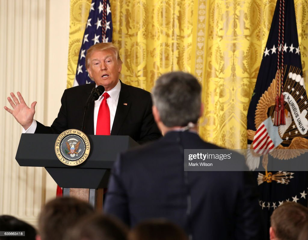 U.S. President Donald Trump answers a question from CNN's Jim Acosta during a news conference announcing Alexander Acosta as the new Labor Secretary nominee in the East Room at the White House on February 16, 2017 in Washington, DC. The announcement comes a day after Andrew Puzder withdrew his nomination.
