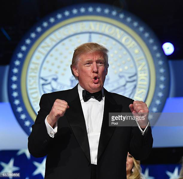 President Donald Trump appears at the Freedom Ball on January 20 2017 in Washington DC Trump will attend a series of balls to cap his Inauguration day