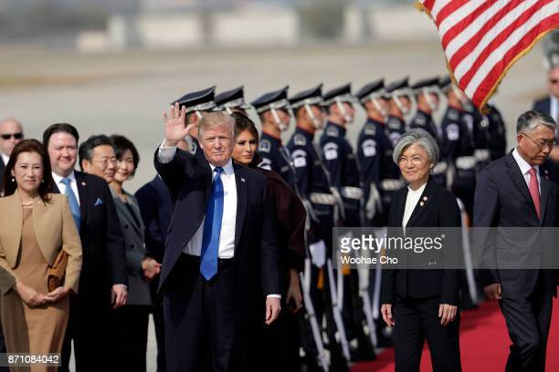 S President Donald Trump arrives at Osan Air Base on November 7 2017 in Pyeongtaek South Korea Trump is in South Korea as a part of his Asian tour