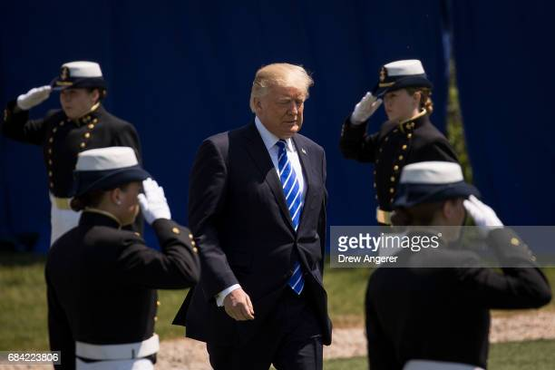 President Donald Trump arrives at the commencement ceremony at the US Coast Guard Academy May 17 2017 in New London Connecticut This is President...