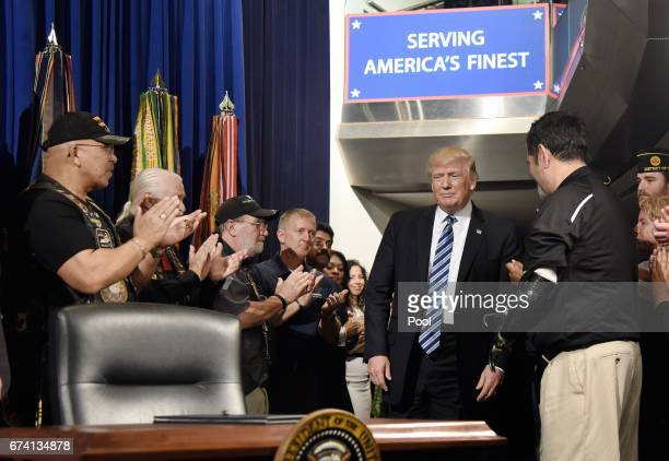 US President Donald Trump arrives at the Department of Veterans Affairs to sign an Executive Order on Improving Accountability and Whistleblower...