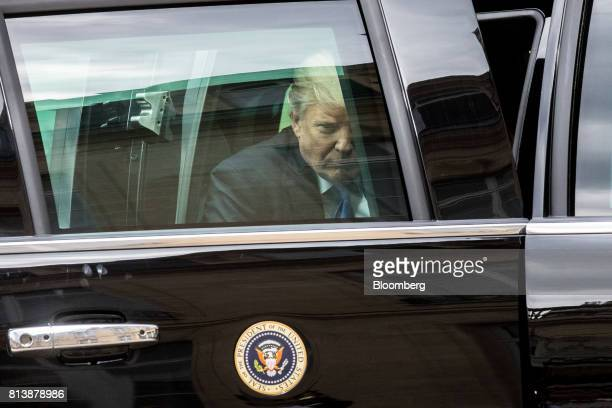 US President Donald Trump arrives at the Elysee Palace in Paris France on Thursday July 13 2017 The awkward relationship between Donald Trump and...