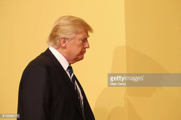 President Donald Trump arrives at the the G20 summit on July 7 2017 in Hamburg Germany Leaders of the G20 group of nations are meeting for the July...