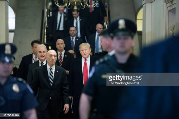 President Donald Trump arrives at the United States Capitol to talk to House GOP members on Tuesday March 21 in Washington DC