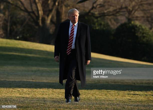 S President Donald Trump arrives back at the White House after spending the weekend in Florida on February 6 2017 in Washington DC Earlier in the day...