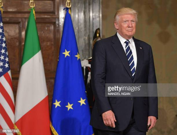 US President Donald Trump arrives for a meeting with Italy's President Sergio Mattarella at the Quirinale Presidential Palace on May 24 2017 in Rome...