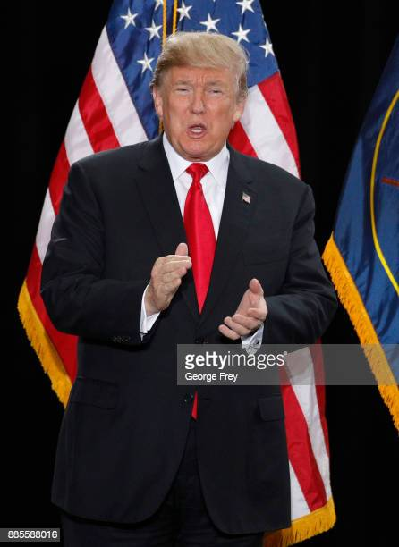 S President Donald Trump arrives for a speech at the Rotunda of the Utah State Capitol on December 4 2017 in Salt Lake City Utah Trump announced the...