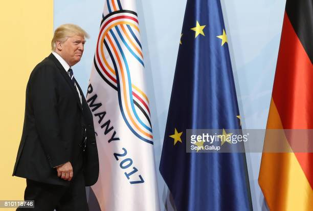 S President Donald Trump arrives for the first day of the G20 economic summit on July 7 2017 in Hamburg Germany The G20 group of nations are meeting...