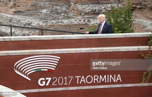 S President Donald Trump arrives in the ancient amphiteater at the G7 Taormina summit on the island of Sicily on May 26 2017 in Taormina Italy...