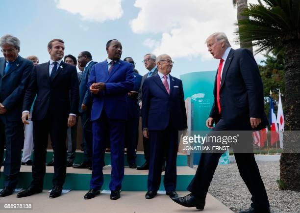 US President Donald Trump arrives next to Italian Prime Minister Paolo Gentiloni French President Emmanuel Macron Niger's President Mahamadou...