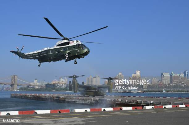 US President Donald Trump arrives on Marine One in New York on September 8 2017 Trump is in New York to address the UN General Assembly for the first...